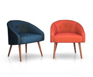3D buttoned chair elm