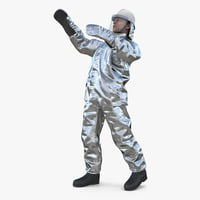 3D firefighter wearing aluminized proximity model