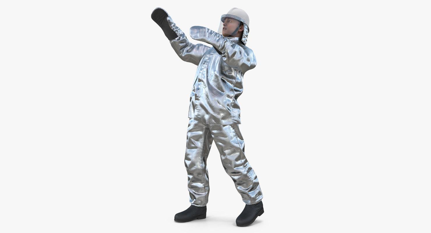 3D firefighter wearing aluminized proximity model
