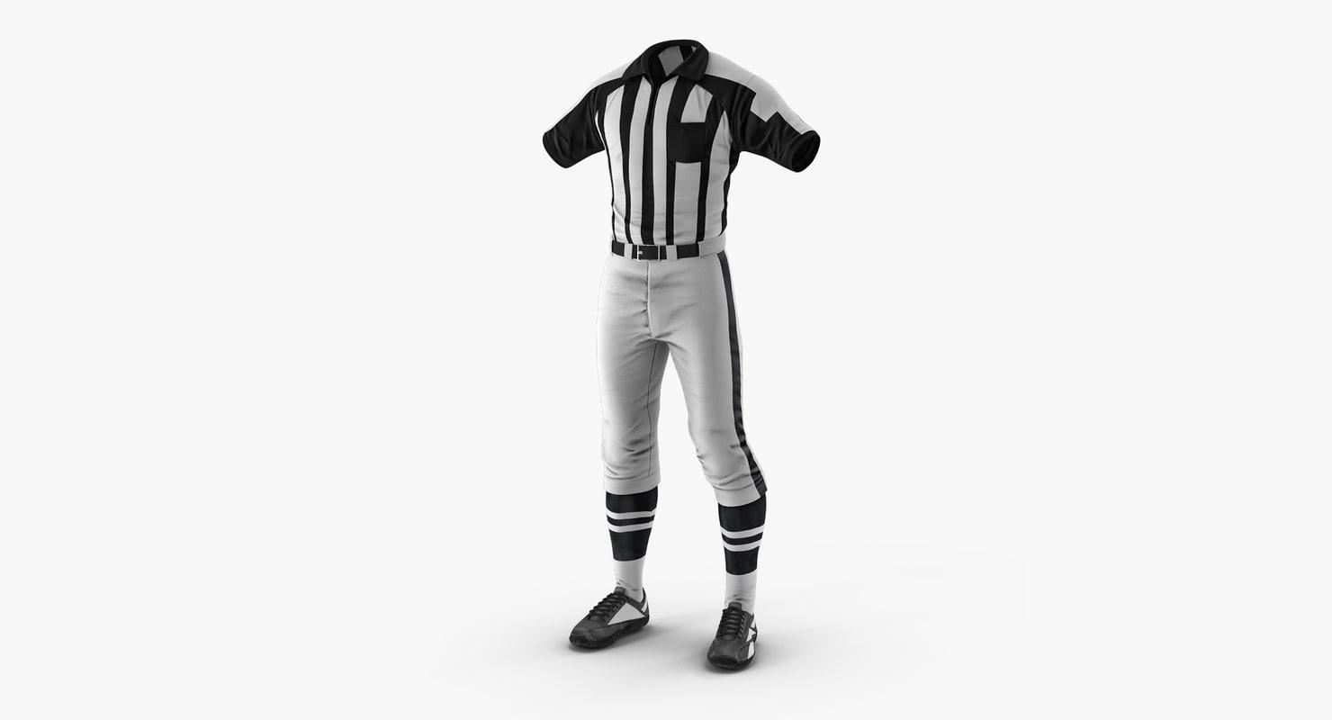 cc1c12e6b american football referee uniform 3D  american football referee uniform 3D
