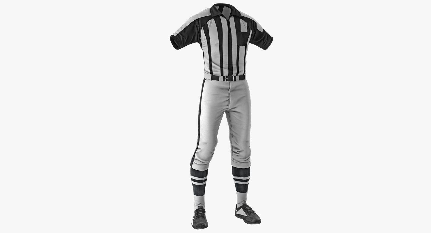 american football referee uniform 3D