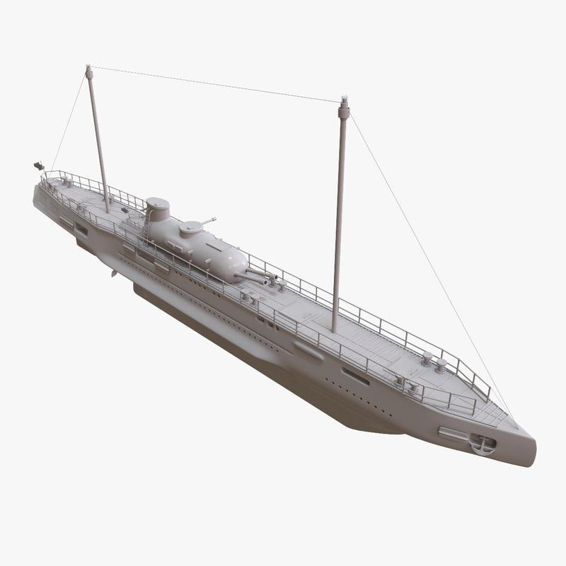 3D french submarine cruiser