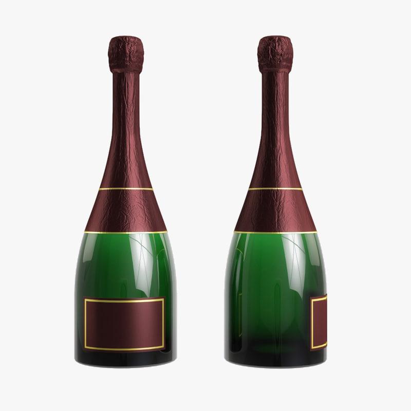 bottle champagne 3D