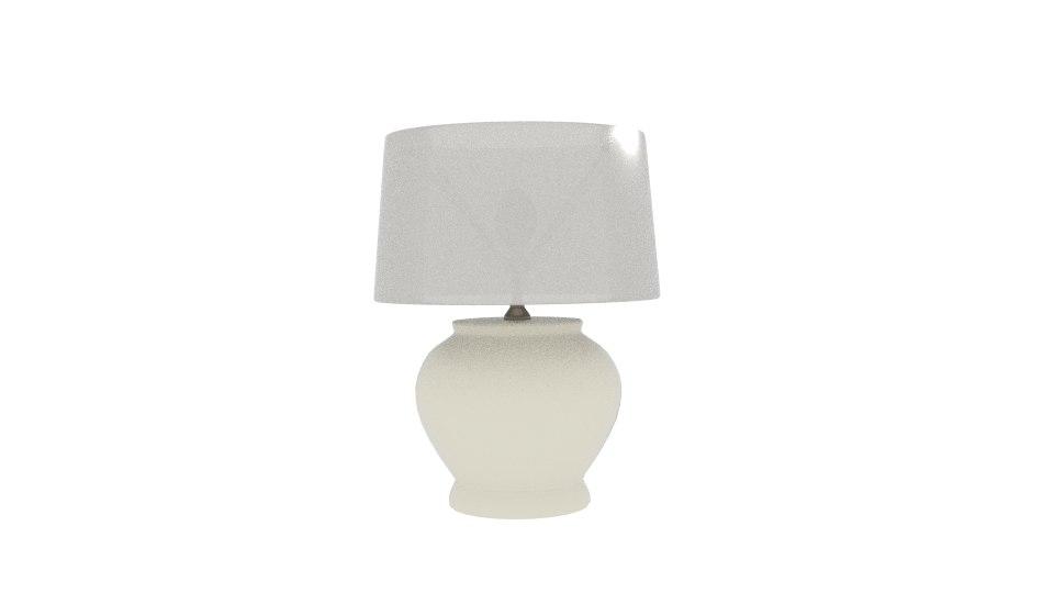3D plain cream table lamp
