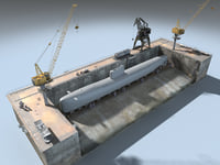 Dry Dock for Submarine ( LOW POLY ) model