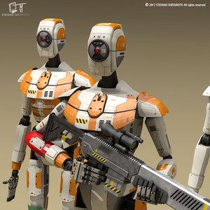 3D sci-fi droid