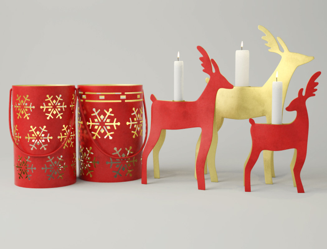new year lanterns candleholders 3D model