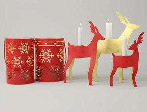 new year lanterns candleholders 3D model