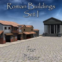 set roman buildings poser 3D