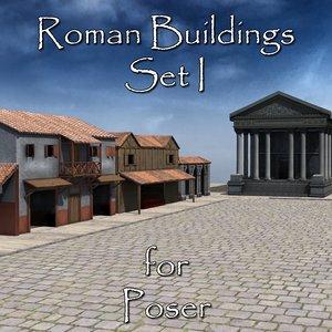 set roman buildings poser 3D