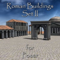 set roman buildings poser 3D model