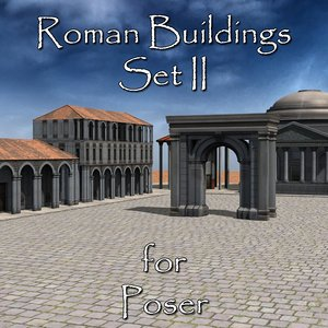 set roman buildings poser 3D model