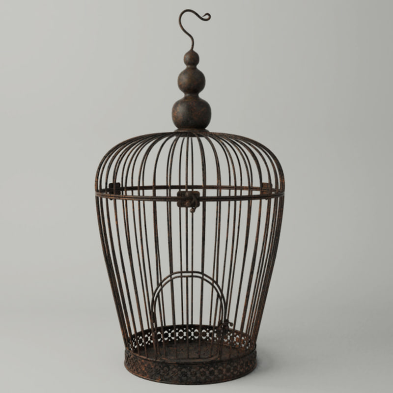 3D rusted metal bird cage model