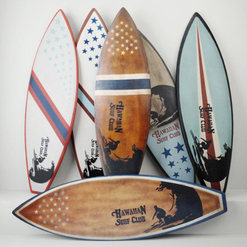 vintage wooden surfboards 3D