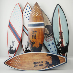 vintage wooden surfboards 3D