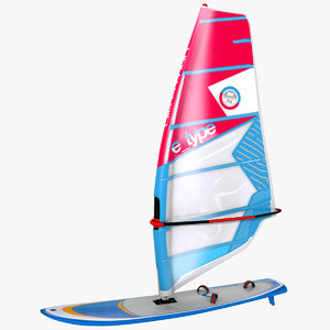 windsurf board sail 3D model
