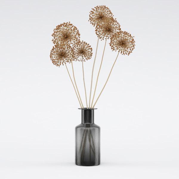 dry flowers vase 3D model