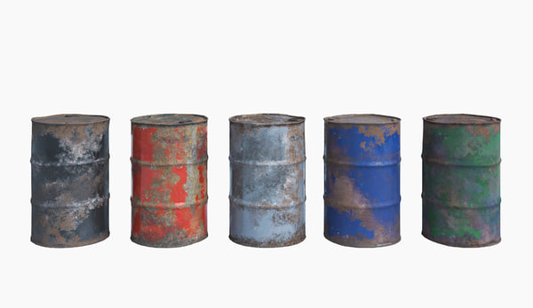 3D barrels metal old model