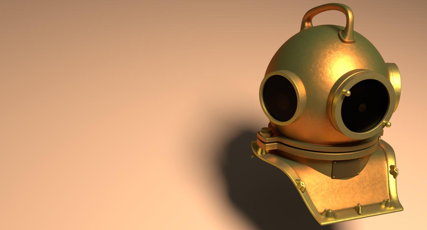 3D vintage diving helmet model