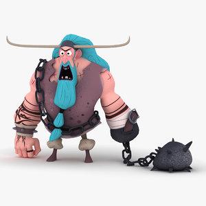 3D cartoon viking
