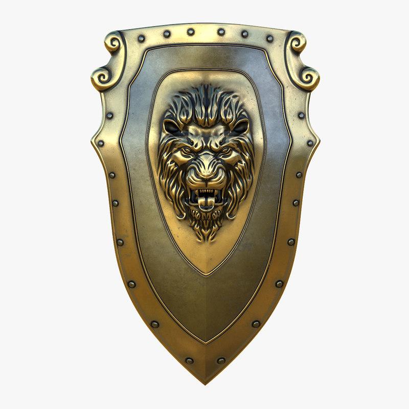 3D model kite shield gold