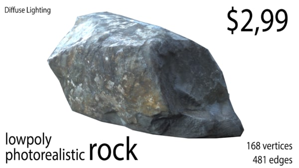 photo realistic rock 3D model