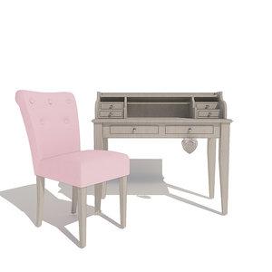 soft chair cambridge desk 3D model