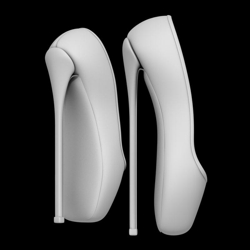 3D model heels ballet shoes