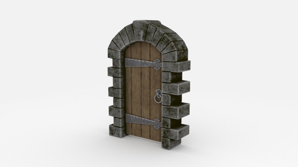 door medieval wood 3D model
