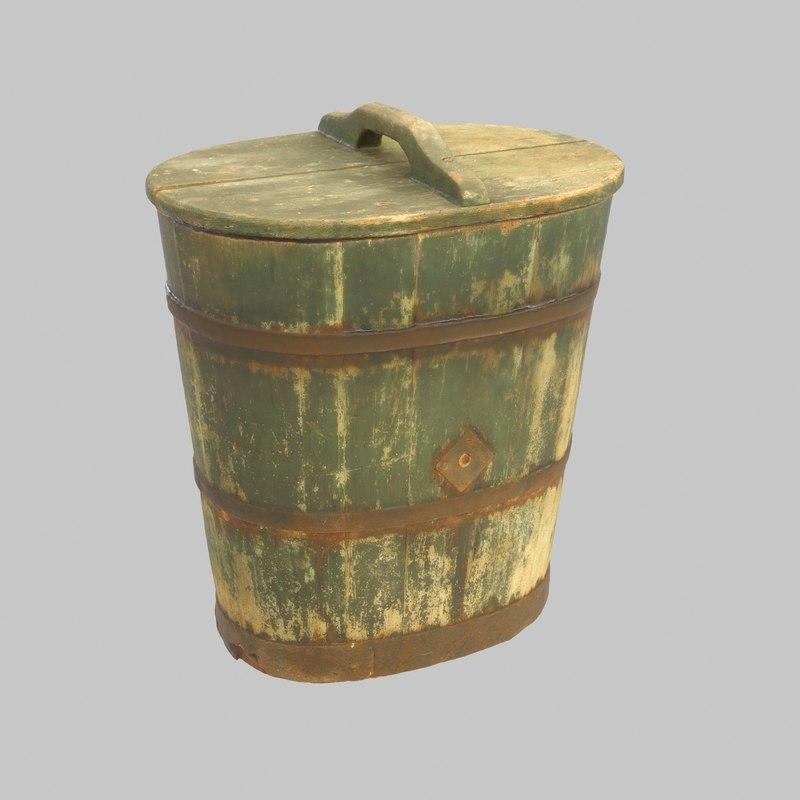 vat wood wooden 3D model