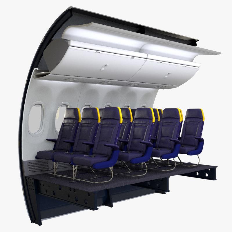 3D ryanair economy seat wall model