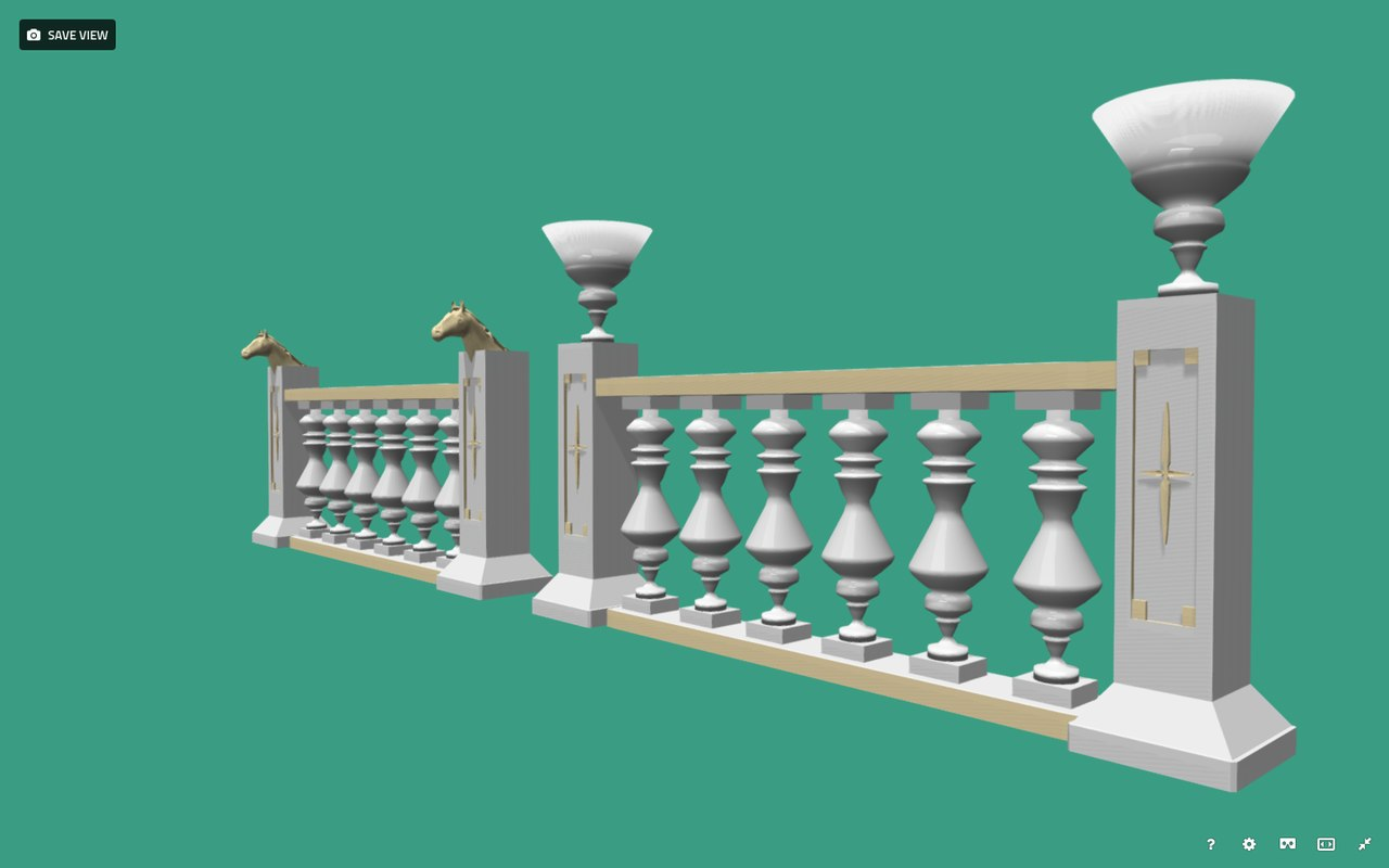 decorative palace balustrade 3D model