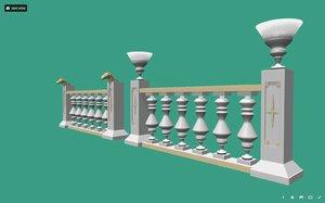 decorative palace balustrade 3D model