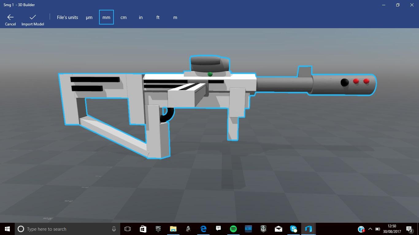 3D smg gun model