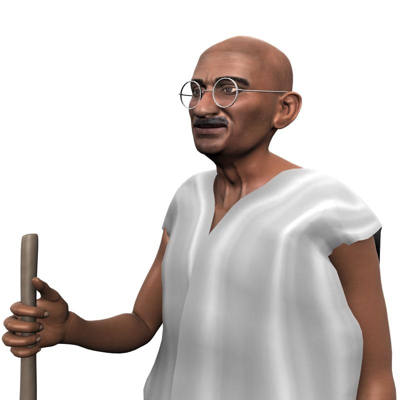 leader gandhi rigged 3D model