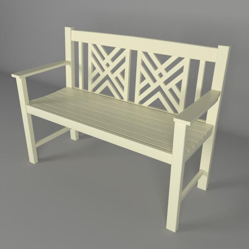 3D exterior garden bench