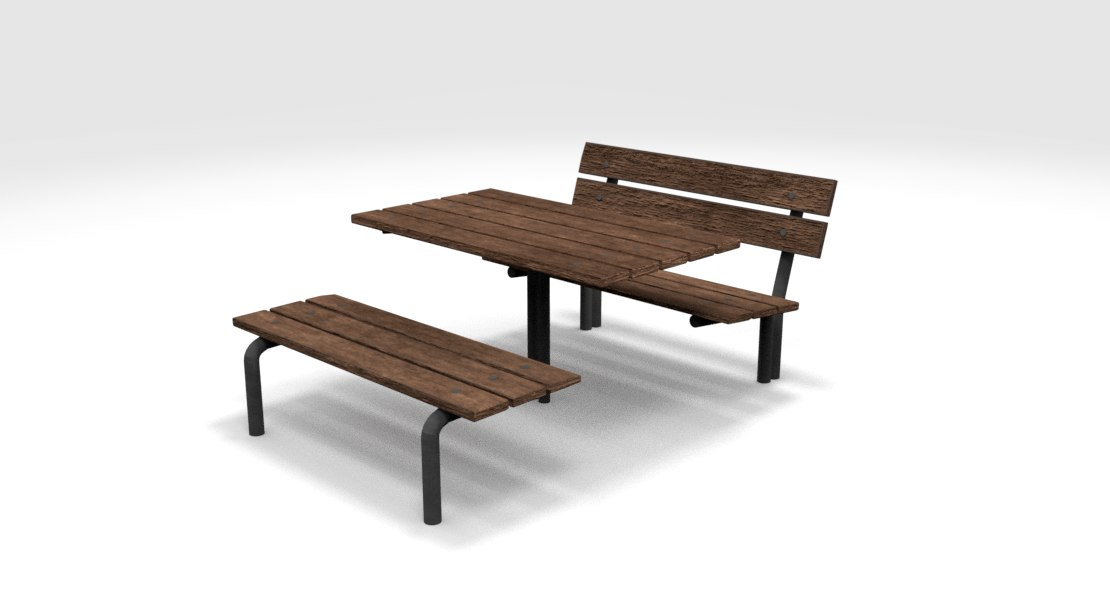 3D street bench table