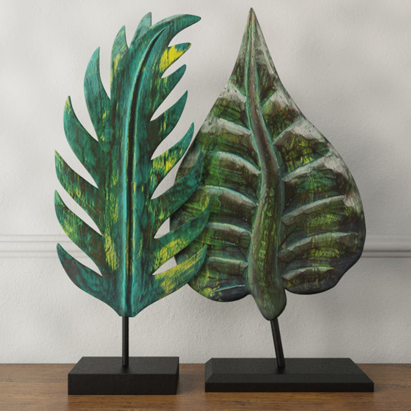 wood leaf decoration albesia 3D model