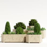 3D pine planter trough model