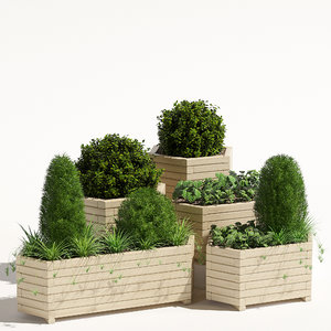 3D pine planter trough model