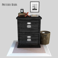 3D bedford two-drawer file cabinet