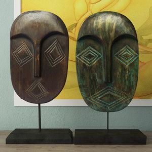 mask decoration albesia wood 3D model