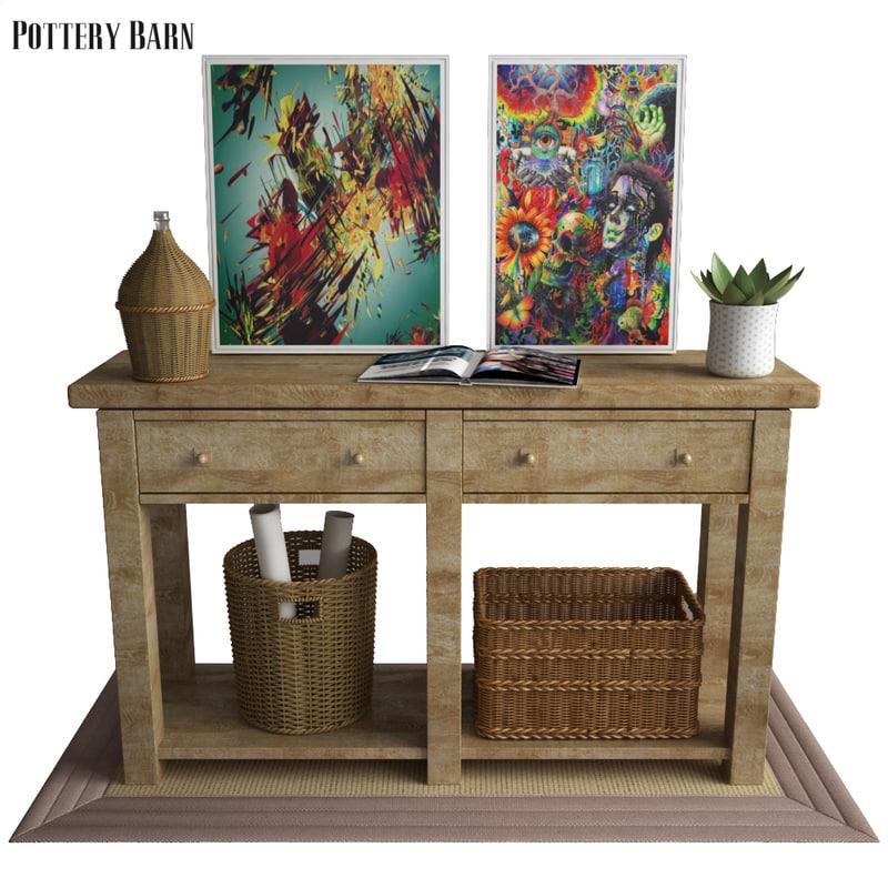 3d Pottery Barn Livingston Console Table Turbosquid 1197468
