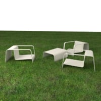 garden chair table wood 3D