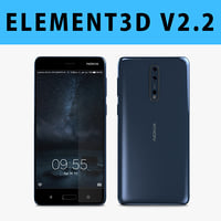 E3D - Nokia 8 Polished Blue 3D model