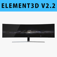 E3D - Samsung 49 Inches CHG90 QLED Gaming Monitor 3D model