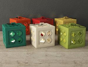 3D ceramic square tealight lanterns