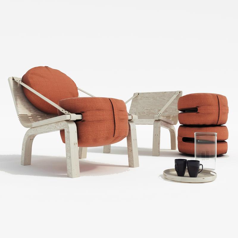 flexible armchair dango 3D