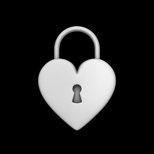 heart padlock 3D
