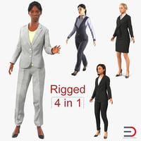 3D rigged business womans 3